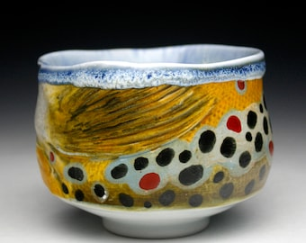 Fish Brown Trout Porcelain Tea Bowl Chawan (Nature as Objects) Gyotaku Gas Fired Pottery