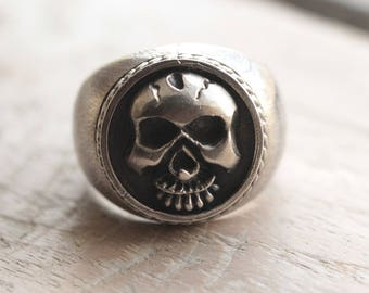 Silver Skull Ring, Skull Wedding Ring, Skull Wedding Band, Biker Ring, Mens Skull Ring, Motorcycle Jewelry, Gothic, Pirate, Statement Rings
