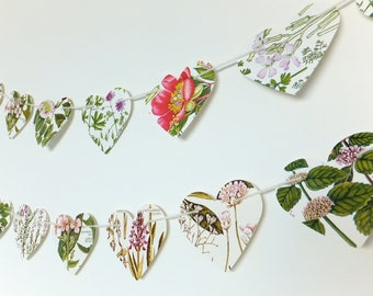 Heart garland, Pink flowers bunting, Natural Wedding decor, Heart Bunting, Pink floral Botanical Banner