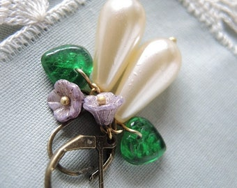 Pastel spring - earrings with pearl drops, a flower and a leaf