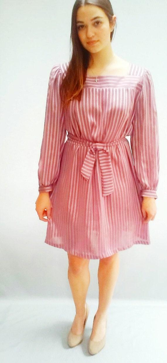 80s vintage metallic Dusty Rose Dress / Semi Sheer / s, m