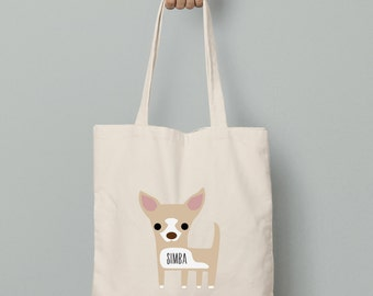 Chihuahua canvas tote bag personalized custom name, chihuahua tote bag, chihuahua custom bag
