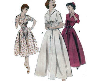 """Sewing Pattern Vintage 50s Front-Zip Robe or Brunch Coat Shirtwaist Short or 3/4 Sleeves Size 18 Bust 36"""" (91 cm) - Butterick 7053"""