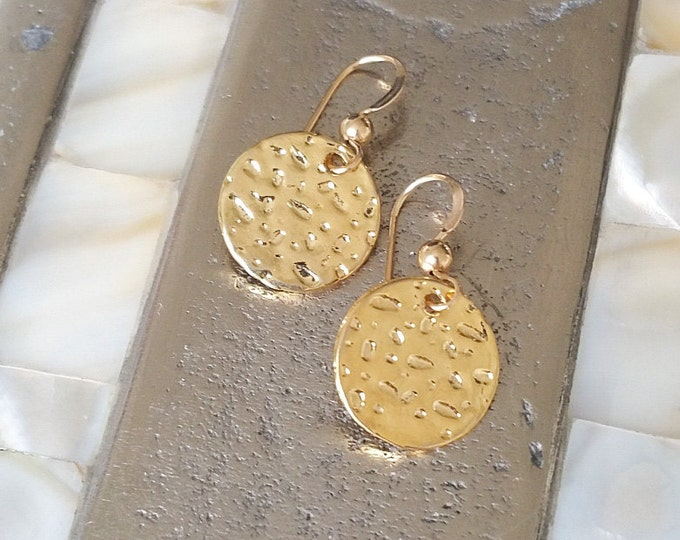 Disc Earrings, Gold Disc Earrings, Small Gold Disc Earrings, Small Disc Earrings, Gold Discs, Gold Earrings