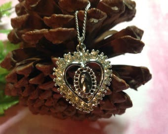 Vintage Pendant Necklace, Rhinestone Heart Necklace, Virgin Mary Necklace, Religious Necklace