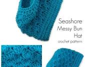Seashore Messy Bun Hat crochet pattern ponytail hat messy bun hat - PDF