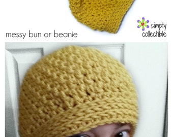 Crochet Hat Pattern - Back n Forth Messy Bun Hat 2-in-1 crochet pattern beanie ponytail hat messy bun hat - PDF