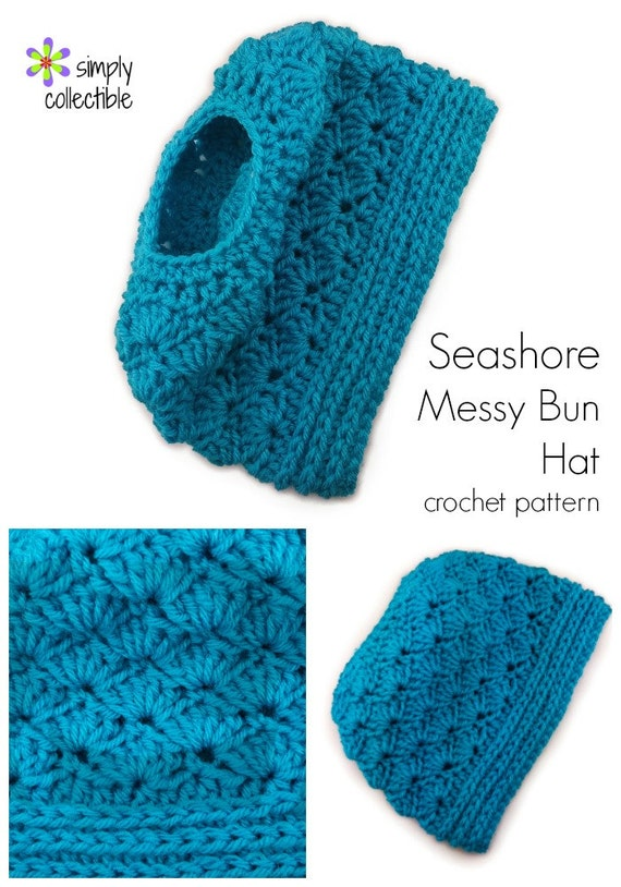 ... Messy Bun Hat crochet pattern ponytail hat messy bun hat - PDF