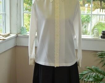 Vintage White Button Up Blouse - L