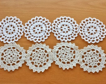 Small Rounded Doilies, 8 pieces, Ecru, Tan, Beige Color Craft Doilies, 2.5 inch Doilies