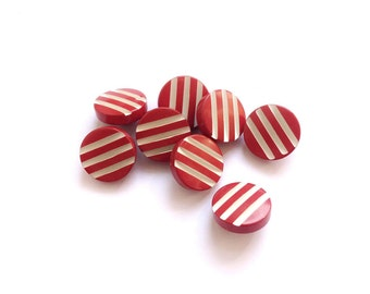 8 Vintage Red & White Striped Plastic Buttons, 15mm