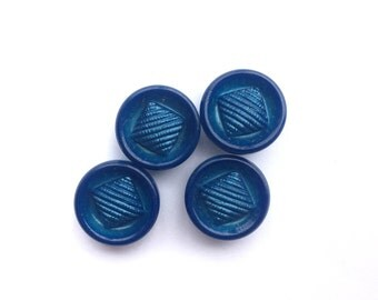 4 Iridescent Blue Vintage Buttons, 15mm
