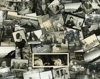 "100 pc - Vintage Mini Photos ""Variety Collection"" Snapshot Photo Lot Antique Black & White Photography Found Photo Paper Ephemera - 111616"
