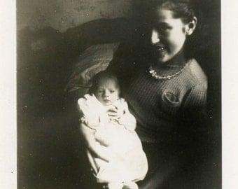 "Vintage Photo ""Holding Baby David"" Snapshot Antique Photo Old Black & White Photograph Found Paper Ephemera Vernacular - 78"