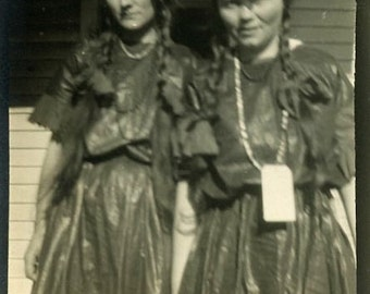 "Antique Photo ""Ellen and Allison"" Women Girl Woman Odd Weird Halloween Outfit Clothing Snapshot Photo Old Black & White Photograph - 104"