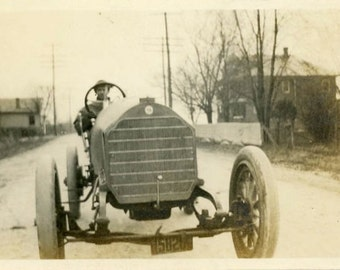 "Vintage Photo ""Ready to Race"" Snapshot Antique Photo Old Black & White Photograph Found Paper Ephemera Vernacular - 104"
