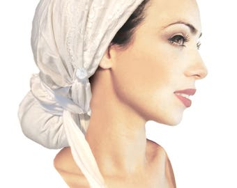 Headcovering White Head Scarf Tichel Fancy Occassions Floral Lace Pre-Tied Bandana Boho Chic Hair Snood Chemo Hat Cap Women ShariRose