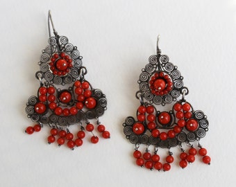 Vintage Oaxacan Mexican Coral and Sterling Silver Filigree Wedding Earrings Frida Kahlo