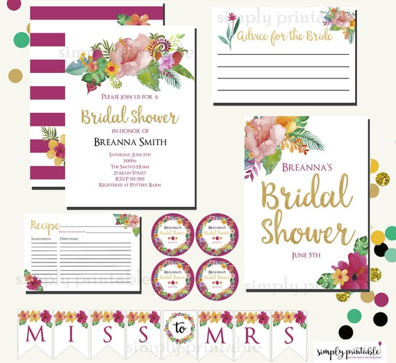 Tropical Bridal Shower Invitation and Printables, Advice Card, Recipe Card, Tags, Hawaii, Hawaiian, Habiscus, Bundle