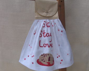 Dog Lover Hanging Kitchen Tea Towel, Dog Lover Gift, Kitchen Towels, Sit Stay Love, Saying Towel