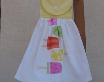 Popsicle Kitchen Tea Towel, Pink or Yellow Top, Hanging Kitchen Dish Towel