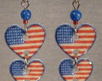 American Flag double dangle earrings - Stars and Stripes Jewelry - Patriot Jewellery