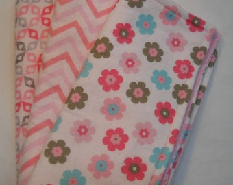 Handmade Baby Girl Burp Rags Spitup Cloths Pink Flowers Chevron Flannel Terrycloth FREE SHIPPING