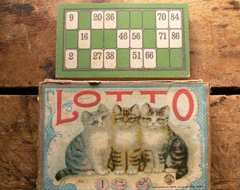 Vintage Lotto Game in Box - Cute Kitten Box Cover Graphic - Cards, Wood Markers and Instructions Included