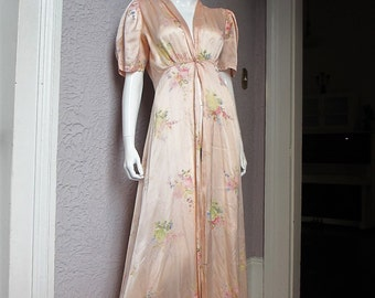 30s/40s Vintage Rose Print Satin Dressing Gown Negligee sm/med