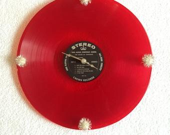 record album clock, Christmas clock, red holiday clock