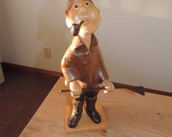 Romer Wood Carving Made In Spain Hunter Hand Carved Man in Hunting Gear Italian Made By Romer Wood Carving Hunter Man with Pipe Outdoorsman
