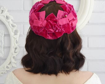 Vintage Hot Pink Velvet and Nylon Ribbon Hat with Cut-Out Center and Hat Pin