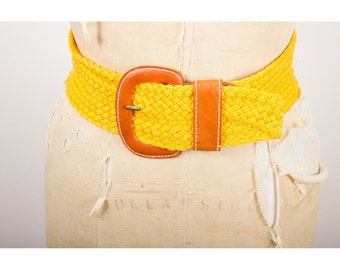 Vintage Christian Dior belt / 1980s wide woven and leather waist belt