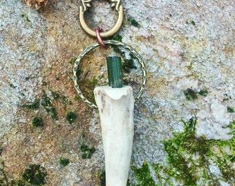 heart.centered ~ hoop pendant w green tourmaline set into deer antler tine, artisan brass accents, deerskin chord