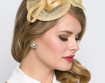 "Champagne Gold Mini Fascinator - ""Arianna"" Mini Mesh Fascinator"