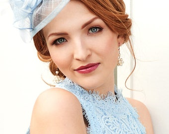"Light Blue Fascinator - ""Penny"" Mesh Hat Fascinator with Mesh Ribbons and Light Blue Feathers"