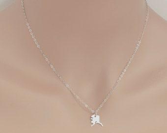 Alaska Necklace, Sterling Silver, State Necklace, Alaska Pendant, State Jewelry, Map Charm Necklace, Alaska Jewelry, Dainty Necklace, BeadXS
