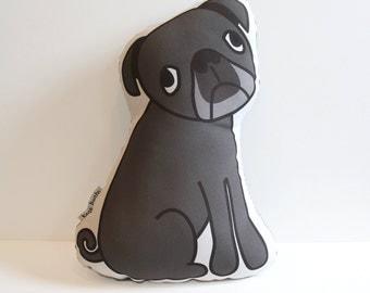 Black Pug Pillow // Illustrated Dog Pillow