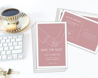 DIY Save the Date Postcard, DIY Editable Template, Editable Save the Date, Editable Wedding Invitation, Editable PDF, Instant Download