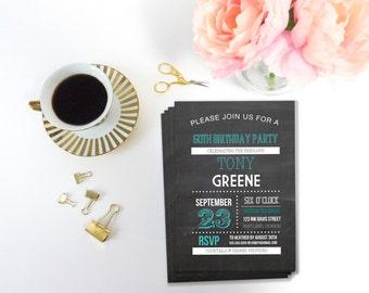 Printable 60th Birthday Party Invitation, Invitation Template, Printable Invitation, Editable Template,  DIY Birthday Invite