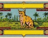 Orange Cat- 1800s Antique Label- Lithograph Print- Jungle Cat- Victorian Cat- Scrapbook- 19th Century- Paper Ephemera