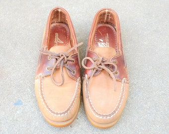 Vintage Womens 6.5 Sperry Top sider Laced Nubuck Leather Loafers Boat Deck Shoes Shoe Hipster Preppy Brown Slipons Two Tone Quality Classic