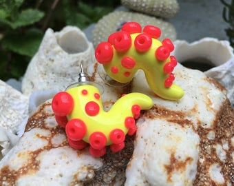 Yellow and Pink Tentacle Earrings- Glow in the dark