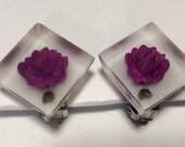 Purple Rose Clip Earrings faux Reverse Carved Earrings