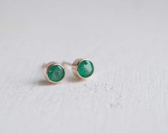 Emerald Bezel Set Earrings | 14k Recycled Gold