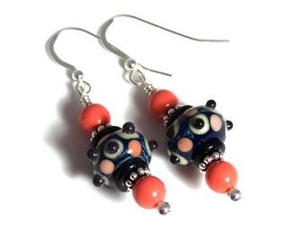 Blue Black & Coral Lampwork Earrings, Coral Swarovski Pearls, Blue Earrings, Coral Earrings, Lampwork Jewelry, Pearl Earrings, Coral Pearls