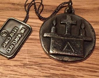 Vintage JAMES AVERY Altar Guild Religious Cross Medal Minister, Pastor Pendant on 18 inch sterling rolo chain