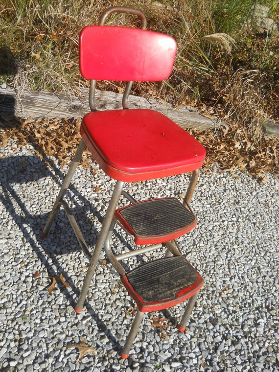 Rustic Red Cosco Stool With Fold Out Steps Mid Century Step