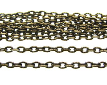 16 feet (5M) Antique Bronze Textured Oval Link Chain / Brass Ox Cable Chain 3mm x 4mm x 1mm -- Lead & Nickel Free 104.1