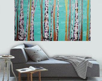 READY TO SHIP: 30x48 Original Colorful Metallic Teal Blue Woodland Cabin Modern Aspen/Birch Tree Painting